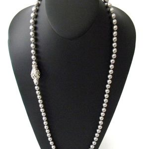 Joan Rivers Grey Faux Pearl Necklace with Magnetic